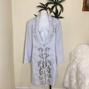 Promise New York maxi flower bling blazer coat